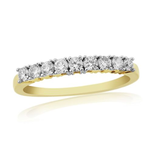 Yellow Gold Diamond Eternity Ring Claw Set 30 Points
